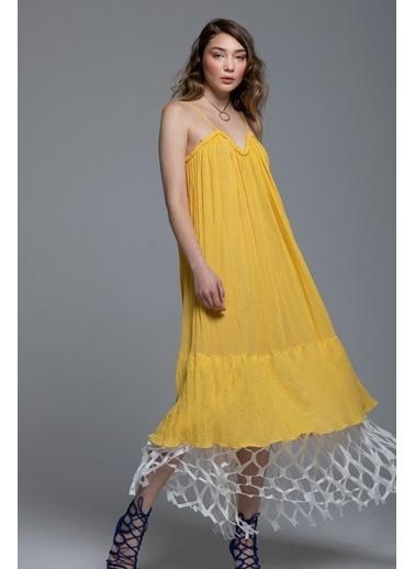 Tuba Ergin Organik Pamuk File Detaylı Maxi Carmel Elbise Sarı